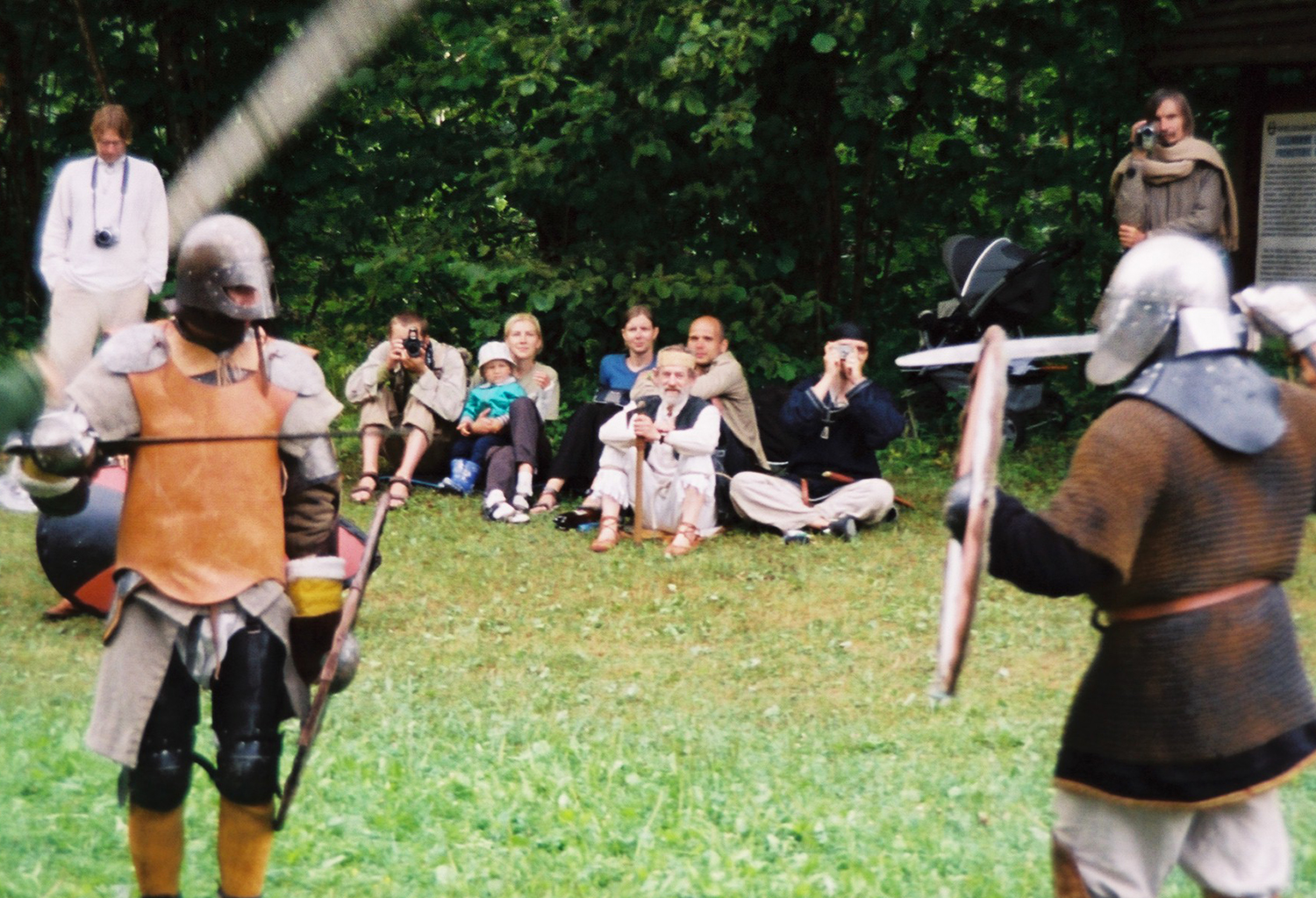 Warriors interact with guests between battles.